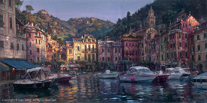 Cao Yong Dawn In Portofino Giclee On Canvas The Venice Series