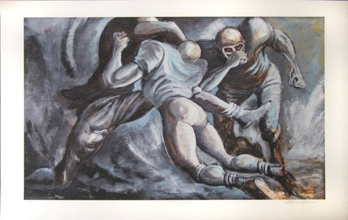 Ernie Barnes The Pulling Guards Artist Signed Lithograph