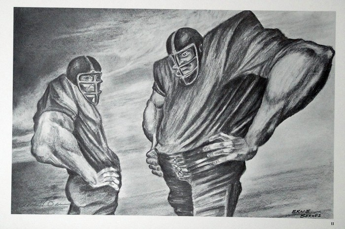 Ernie Barnes Two Linemen  Lithograph