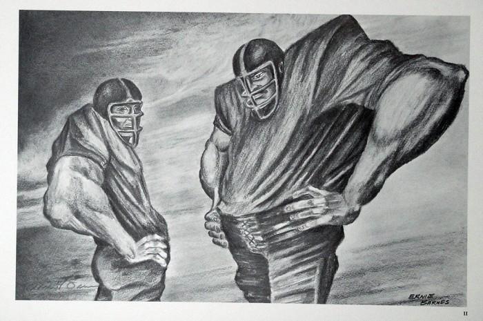 Ernie BarnesTwo Linemen Artist SignedLithograph