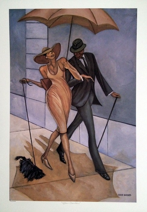 Ernie Barnes Uptown, Downtown Giclee On Paper