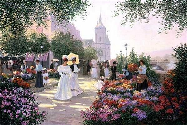 Christa Kieffer Flower Market Along the Seine Giclee On Canvas