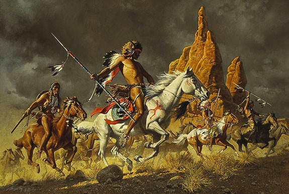 Frank McCarthy NAVAJO PONIES FOR COMANCHE WARRIORS Lithograph