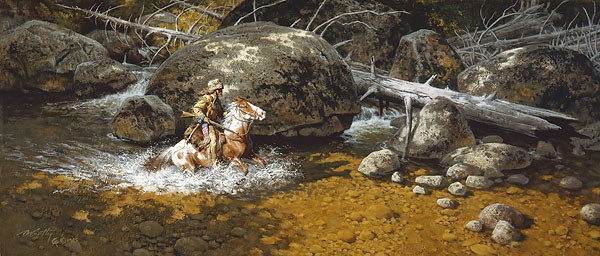 Frank McCarthy Covering His Trail SMALLWORK EDITION ON Canvas