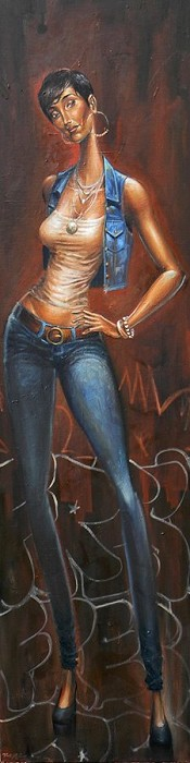 Frank Morrison DIVA IN BLUES Original Oil on Canvas