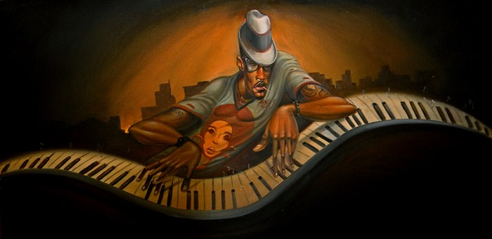 Frank Morrison GRAND MASTER JAZZ GICLEE ON CANVAS REMARQUE