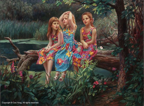 Cao Yong Friends Artist Proof Giclee On Canvas Artist Proof The Romantic Garden Series