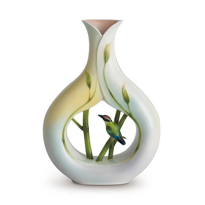 Franz Porcelain Bamboo Song Bird Vase Fine Porcelain