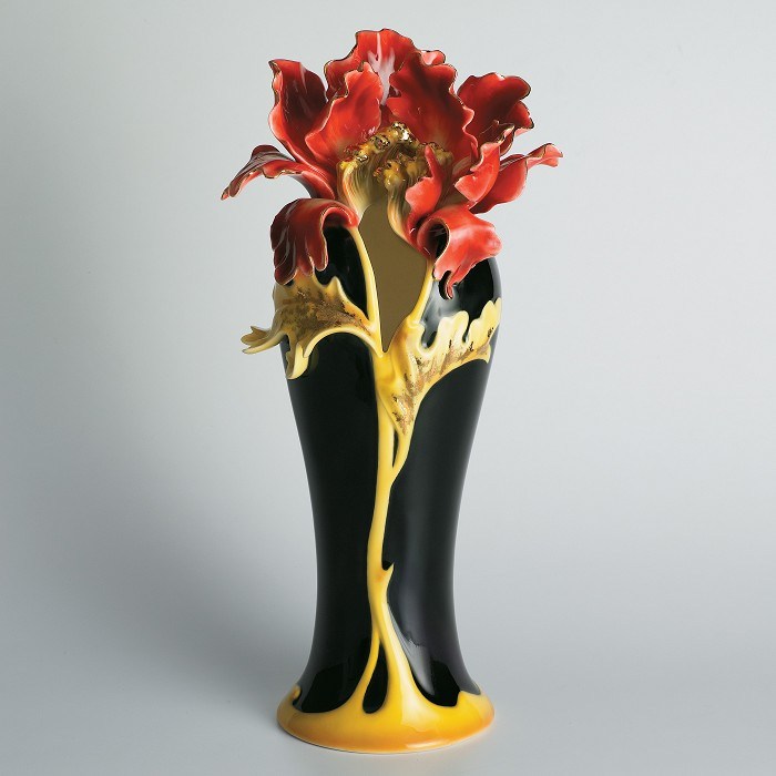 Franz Porcelain Striking Vermillion peony vase Fine Porcelain