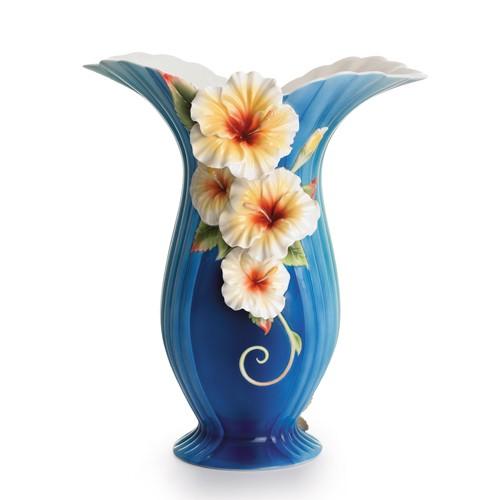 Franz PorcelainIsland Hibiscus Collection Vase Fine Porcelain