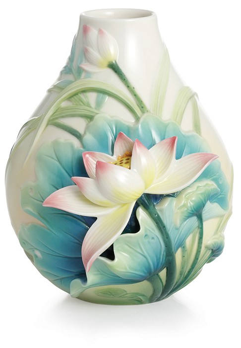 Franz Porcelain Peaceful Lotus flower small vase  Fine Porcelain