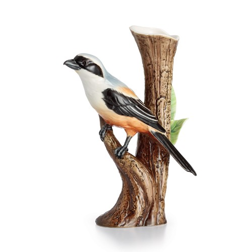 Franz Porcelain Long Tailed Shrike Bird Porcelain Vase