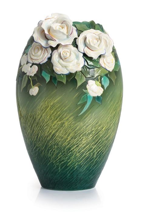 Franz PorcelainVan Gogh White roses flower large vaseFine Porcelain