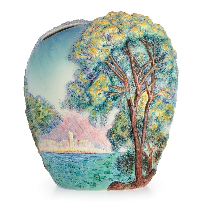 Franz Porcelain Morning at Antibes Porcelain Vase Fine Porcelain