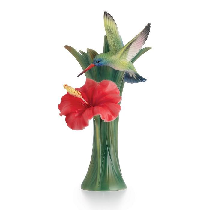 Franz PorcelainHummingbird Hibiscus Porcelain Vase Fine Porcelain