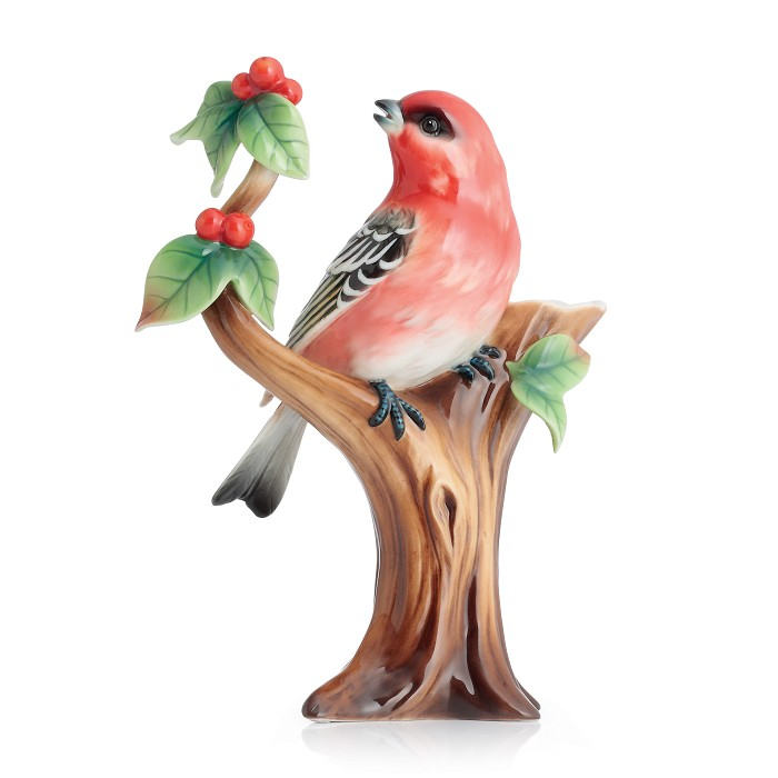 Franz Porcelain Pine Grosbeak Finch Small Vase Fine Porcelain