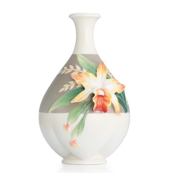 Franz PorcelainVase, Cattleya Orchid smallFine Porcelain