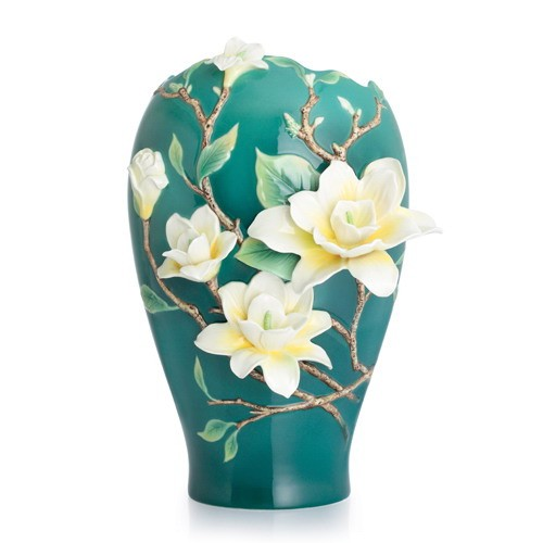 Franz Porcelain Yellow Magnolia Large Vase Limited Edition  Fine Porcelain