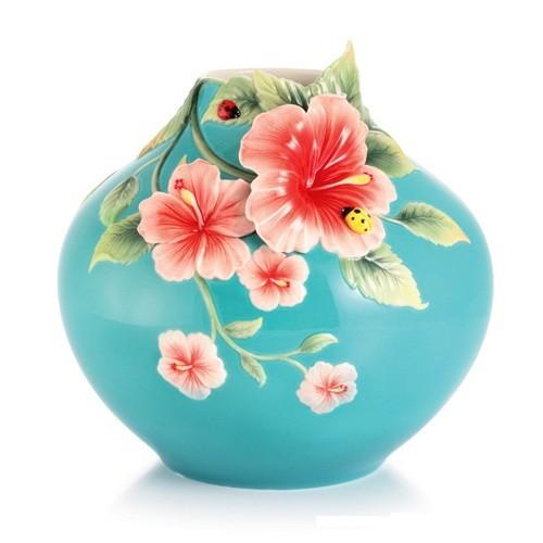 Franz PorcelainForever in Love hibiscus and ladybug vaseFine Porcelain