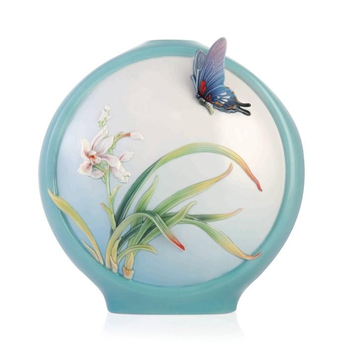 Franz PorcelainVase, Boat Orchids/Butterfly