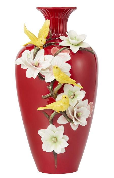 Franz PorcelainVase, Canary and Magnolia Porcelain (LE 988)