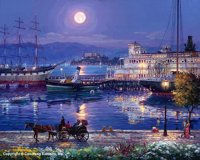 Cao Yong Full Moon Artist Proof Giclee On Canvas Artist Proof The Golden Coast Series
