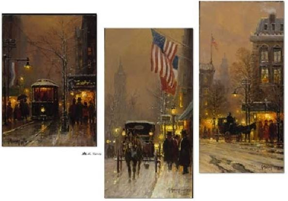 G HarveyAvenues of Light Suite of 3Lithograph