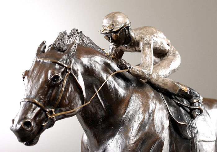 George Nock STRETCH RUN Bronze Sculpture