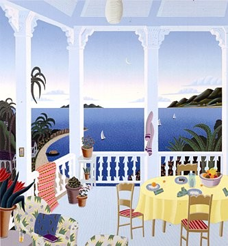 Thomas McKnight Tropical Evening Deluxe On Canvas