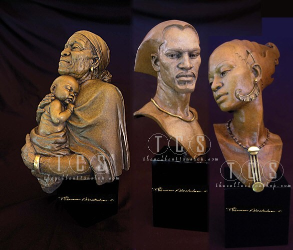 Thomas Blackshear Legends Remembering, Romance,Embrace Ap Matched Set Mixed Media Sculpture