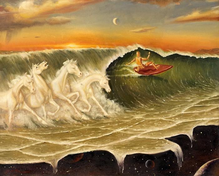 Glen TarnowskiSea Horses Original Oil on Canvas