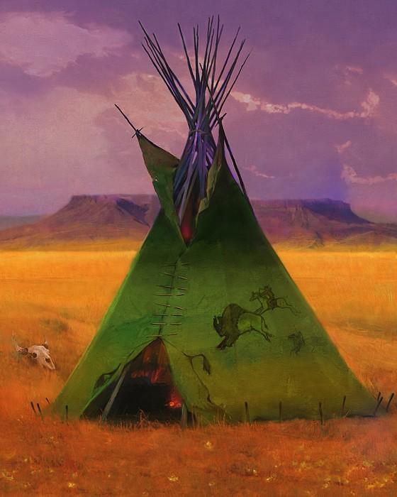R. Tom GilleonGreen Buffalo LodgeGiclee On Canvas