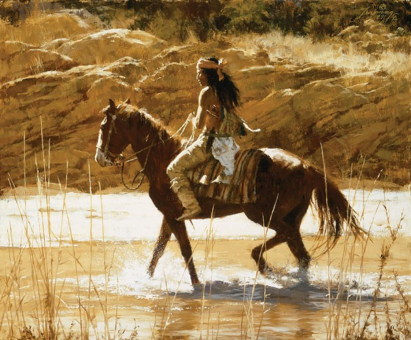 Howard Terpning THE CAPTAINS HORSE Giclee On Canvas Artist Proof