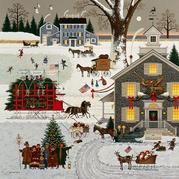 Charles Wysocki Cape Cod Christmas ANNIVERSARY EDITION Giclee On Canvas