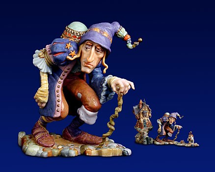 James Christensen There Was A Crooked Man Porcelain Sculpture