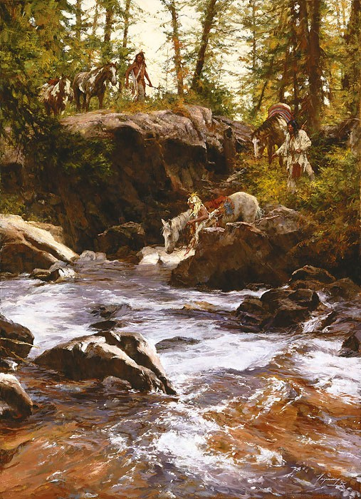 Howard Terpning CROWS IN THE YELLOWSTONE Giclee On Canvas Artist Proof