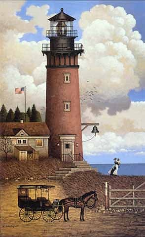 Charles Wysocki Daddy´s Coming Home ANNIVERSARY EDITION Giclee On Canvas