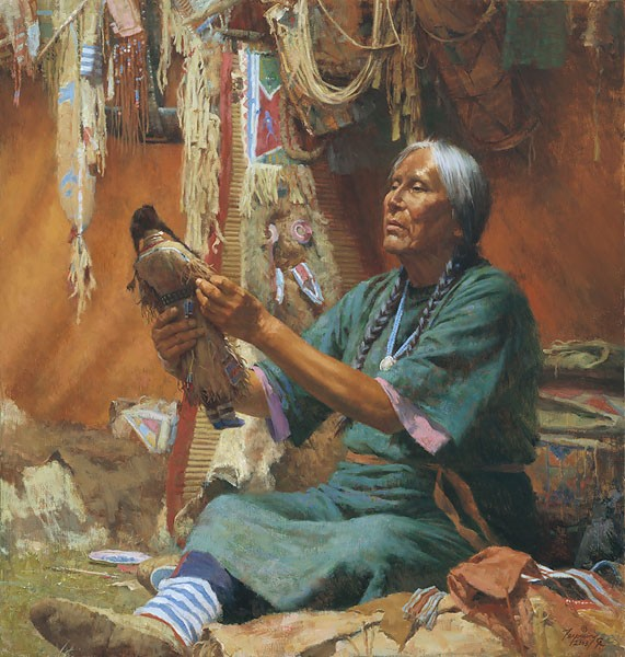 Howard Terpning NEW DOLL FOR MY GRANDMOTHER Giclee On Canvas Artist Proof
