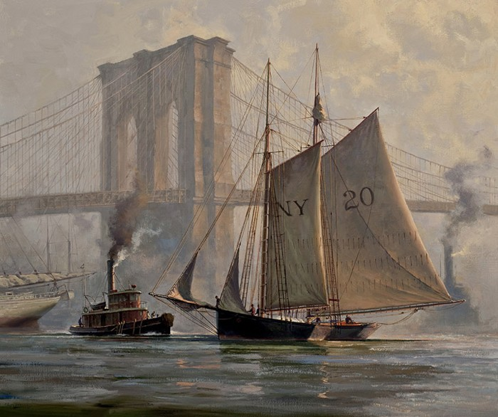 Don Demers Working Through a Fog, East River, NYC Giclee On Canvas