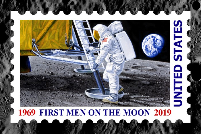 Chris Calle FIRST MEN ON THE MOON Giclee On Canvas