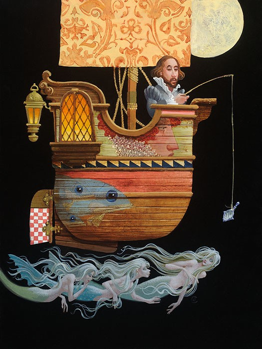 James ChristensenFishing for MermaidsGiclee On Canvas