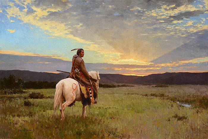 Z.S.  Liang Lone Rider, Milk River Valley Giclee On Canvas