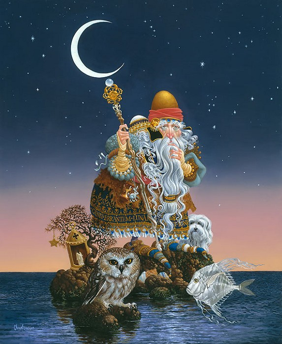 James Christensen The Man Who Minds the Moon Giclee On Canvas
