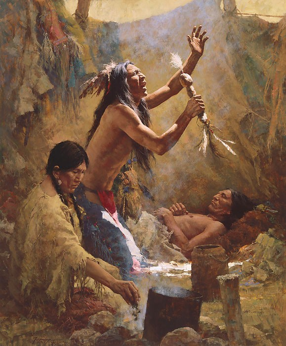 Howard Terpning Medicine Man of the Cheyenne (Masterwork Anniversary Canvas) Giclee On Canvas