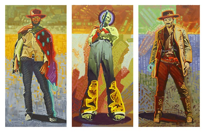 Michael Blessing Neon Gunslingers Triptych Set Giclee On Canvas