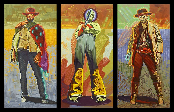 Michael Blessing Neon Gunslingers Museum Edition Giclee On Canvas