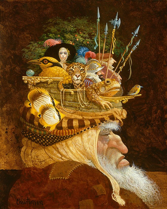 James Christensen Old Man With A Lot on His Mind Giclee On Canvas