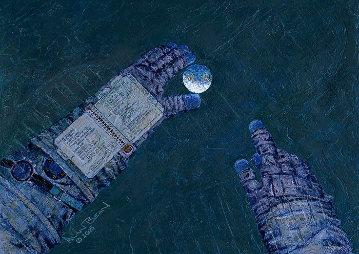 Alan Bean Our World at My Fingertips Giclee On Canvas