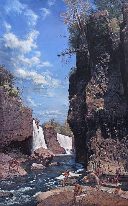 John BuxtonGreat Falls of the PassaicGiclee On Canvas