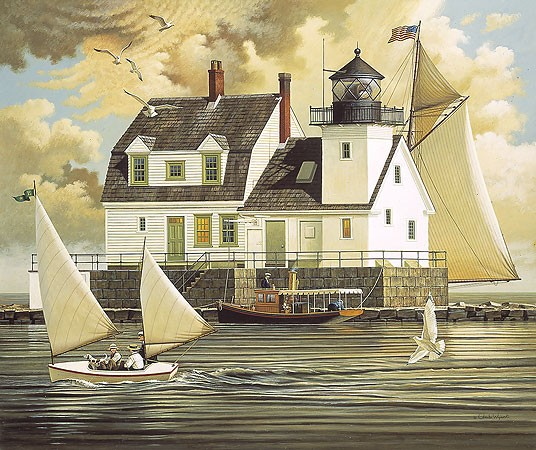 Charles Wysocki Rockland Breakwater Light ANNIVERSARY EDITION Giclee On Canvas